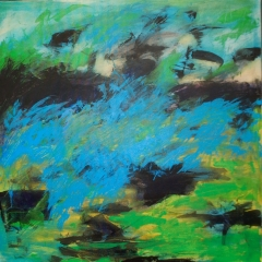 "Backyard Flight, 30"" x 30""<br/>Acrylic on Canvas<br/>SOLD"