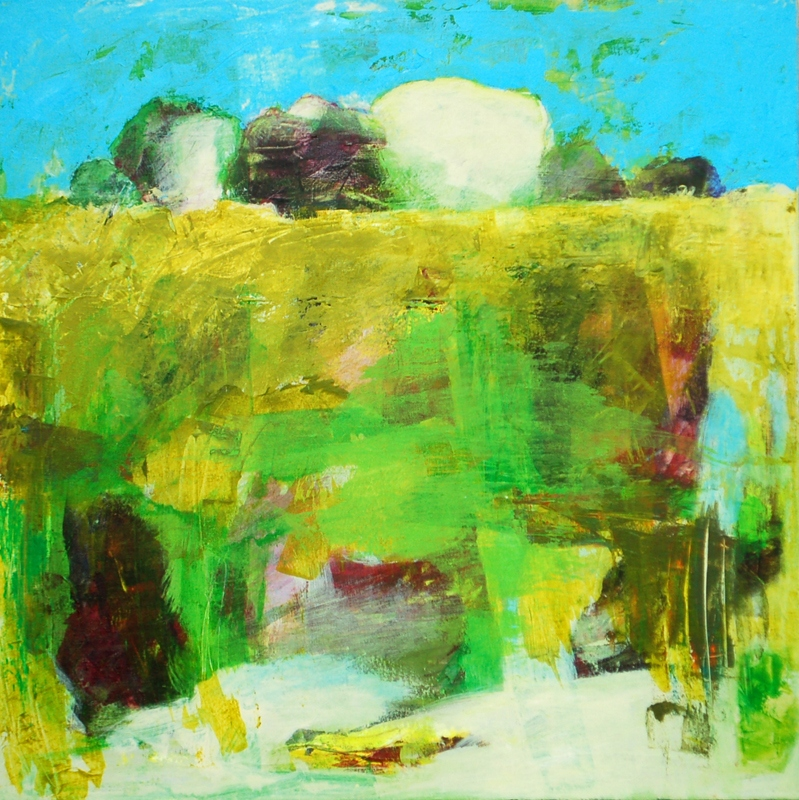"""Landscape with Yellow and Green - 30"""" x 30"""" Acrylic on canvas"""