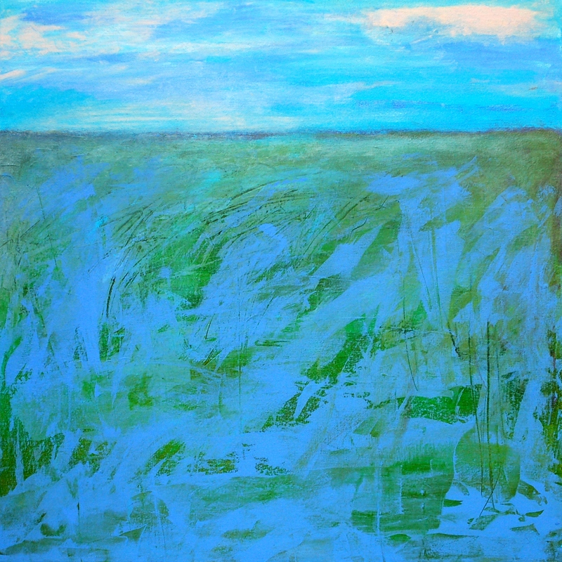"""Landscape with Blue - 24"""" x 24"""" Acrylic on canvas"""