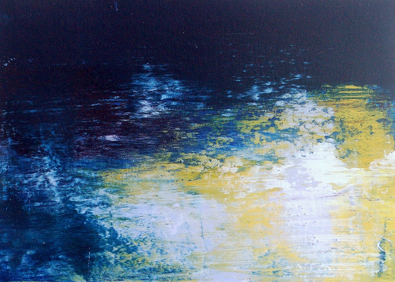 "1: Reflections I - 5"" x 7""  Oil and Cold Wax on Arches Oil Paper"